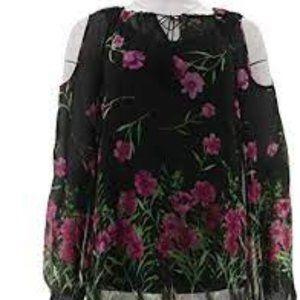 Dennis Basso Floral Print Cold Shoulder Blouse Cam